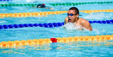 Aldo in the Breaststroke leg of the 400 IM