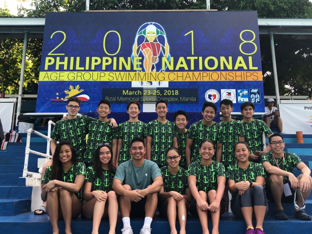 2018 PNAG team picture (Seb, Ianiko, Pierre, Marco, Perry, Jeff, Riley, Miguel, Maryrose, Bea, Coach Sherwyn, Chloe, Chesca, Coach Basile, Davin ORG